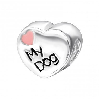 Heart Love My Dog - 925 Sterling Silver Beads without stones A4S9623