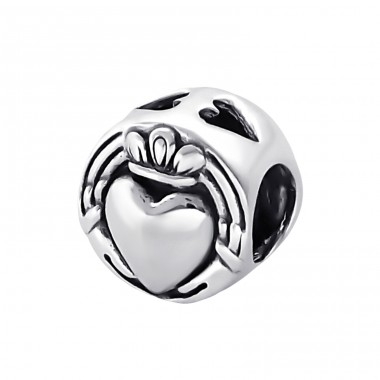 Crowned Heart - 925 Sterling Silver Beads without stones A4S9628