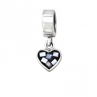 Hanging Heart - 925 Sterling Silver Beads without stones A4S9807