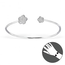Flower - 925 Sterling Silver Bangles A4S21495