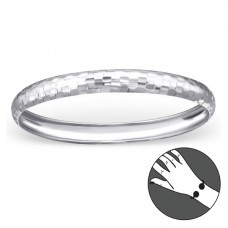 Round - 925 Sterling Silver Bangles A4S22449