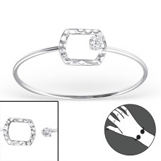 Rectangle - 925 Sterling Silver Bangles A4S22962