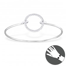 Round - 925 Sterling Silver Bangles A4S24631