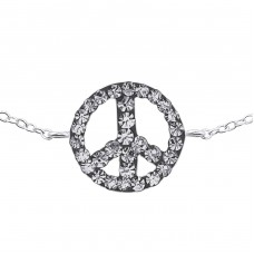 Inline Peace Sign - 925 Sterling Silver Bracelets with silver chain A4S18599