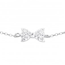Tie Bow - 925 Sterling Silver Bracelets with silver chain A4S18605