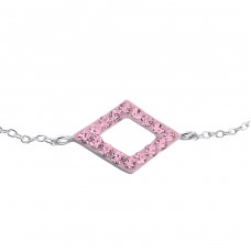Rectangle - 925 Sterling Silver Bracelets with silver chain A4S19257