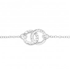 Circles Link - 925 Sterling Silver Bracelets with silver chain A4S25070