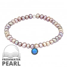 Round Opal - 925 Sterling Silver Bracelets with silver chain A4S29027