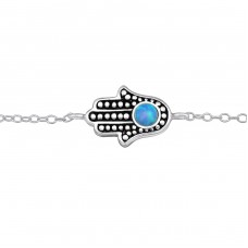 Hamsa Opal - 925 Sterling Silver Bracelets with silver chain A4S30229