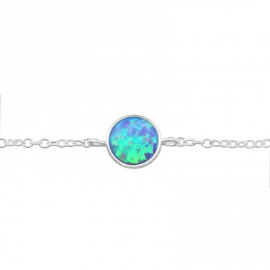 Round Opal - 925 Sterling Silver Bracelets with silver chain A4S31551
