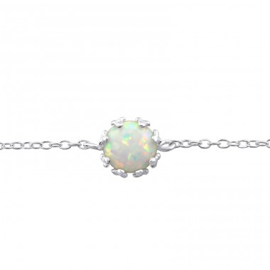 Round Opal - 925 Sterling Silver Bracelets with silver chain A4S31552