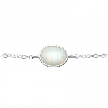 Oval Opal - 925 Sterling Silver Bracelets with silver chain A4S31554