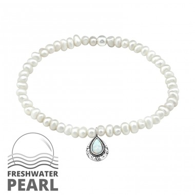 Oval - 925 Sterling Silver Bracelets with silver chain A4S32436