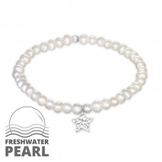 Star - Fresh Water Pearl + 925 Sterling Silver Bracelets with silver chain A4S32439