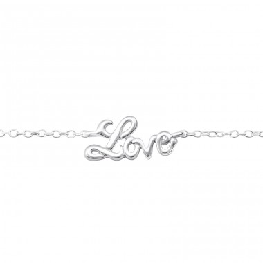 Love - 925 Sterling Silver Bracelets with silver chain A4S32948