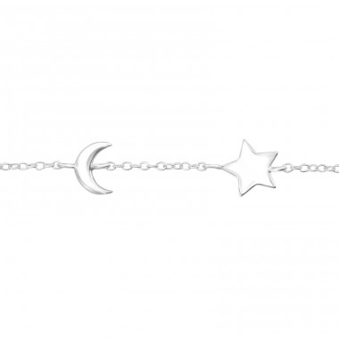 Star And Moon - 925 Sterling Silver Bracelets with silver chain A4S33801