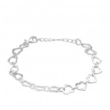 Heart Link - 925 Sterling Silver Bracelets with silver chain A4S34683
