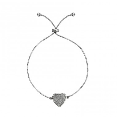 Silver Adjustable Heart Bracelet With Glitter Inlay - 925 Sterling Silver Bracelets with silver chain A4S34685