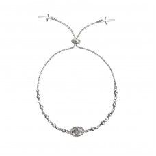Silver Adjustable Rosary Bracelet - 925 Sterling Silver Bracelets with silver chain A4S34687