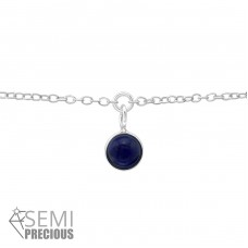 Silver Bracelet With Hanging Semi Precious Stone - 925 Sterling Silver Bracelets with silver chain A4S36125