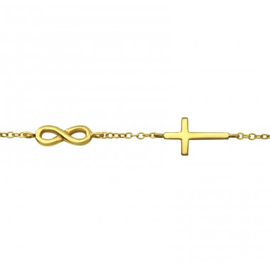 Infinity And Cross - 925 Sterling Silver Bracelets with silver chain A4S36448