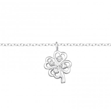 Lucky Clover - 925 Sterling Silver Bracelets with silver chain A4S37092