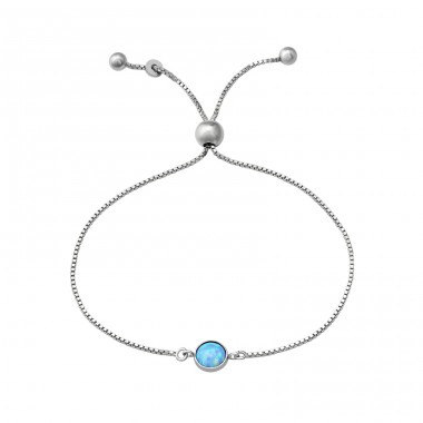 Round - 925 Sterling Silver Bracelets with silver chain A4S37473