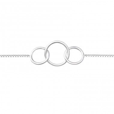 Circle Link - 925 Sterling Silver Bracelets with silver chain A4S37858