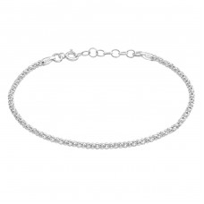 18cm Popcorn Chain With Round Link Chain 3cm Extension - 925 Sterling Silver Bracelets with silver chain A4S38136