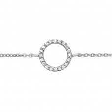 Circle - 925 Sterling Silver Bracelets with silver chain A4S39185