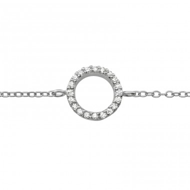 Circle with zirconia stones - 925 Sterling Silver Bracelets With Silver Chain A4S39698