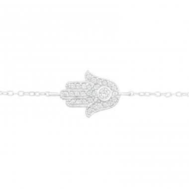 Hamsa - 925 Sterling Silver Bracelets with silver chain A4S40450