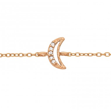 Rosegold half Moon - 925 Sterling Silver Bracelets With Silver Chain A4S40529