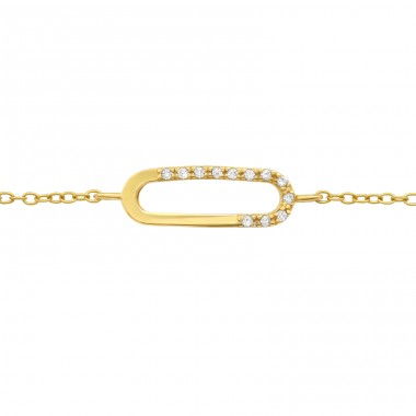 Golden oval - 925 Sterling Silver Bracelets With Silver Chain A4S40532