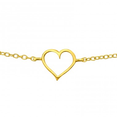 Golden heart - 925 Sterling Silver Bracelets With Silver Chain A4S40694