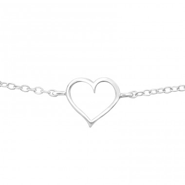 Heart - 925 Sterling Silver Bracelets with silver chain A4S40695