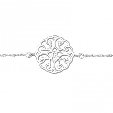 Filigree Antique shape - 925 Sterling Silver Bracelets With Silver Chain A4S41048
