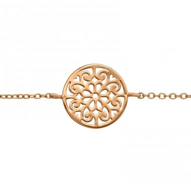 Rosegold Filigree Antique shape - 925 Sterling Silver Bracelets With Silver Chain A4S41049