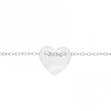 Brushed Heart - 925 Sterling Silver Bracelets With Silver Chain A4S41446