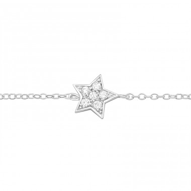Star - 925 Sterling Silver Bracelets with silver chain A4S9276