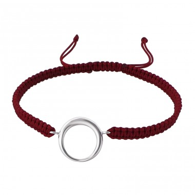 Circle - Nylon Cord + 925 Sterling Silver Bracelets with cords A4S17326