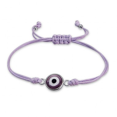Evil Eye - 925 Sterling Silver + Nylon Cord Bracelets with cords A4S17337