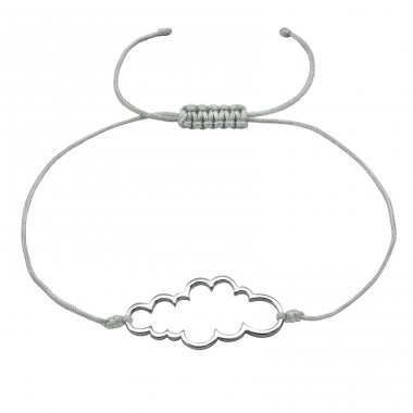 Cloud - 925 Sterling Silver + Nylon Cord Bracelets With Cords A4S18411