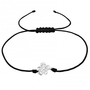 Flower - Nylon Cord + 925 Sterling Silver Bracelets with cords A4S25460