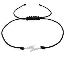Thunderbolt - 925 Sterling Silver + Nylon Cord Bracelets with cords A4S25466