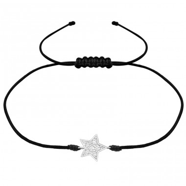 Star - 925 Sterling Silver + Nylon Cord Bracelets with cords A4S25473