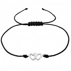 Hearts - 925 Sterling Silver + Nylon Cord Bracelets with cords A4S25479