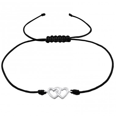 Hearts - Nylon Cord + 925 Sterling Silver Bracelets with cords A4S25479