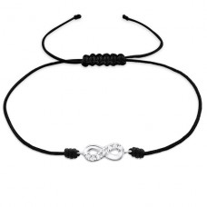 Infinity - 925 Sterling Silver + Nylon Cord Bracelets with cords A4S25485