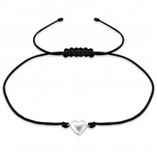 Heart - Nylon Cord + 925 Sterling Silver Bracelets with cords A4S31766